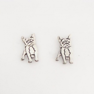 Sterling Silver French Bulldog Earrings