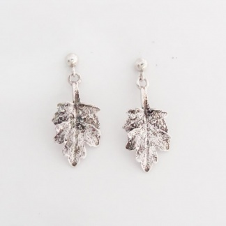 Sterling Silver Chrysanthemum Leaf Earrings