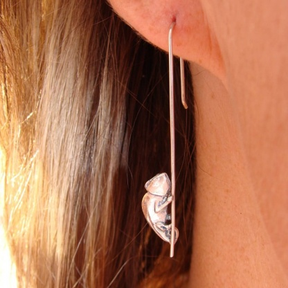 Sterling Silver Chameleon Earrings