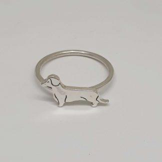 Sterling Silver Dachshund Stack Ring - Goldfish Jewellery Design Studio