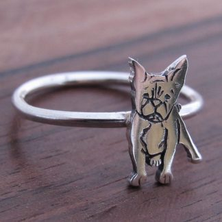 Sterling Silver French Bulldog Stack Ring