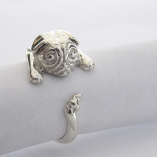 Sterling Silver Pug Wraparound Ring