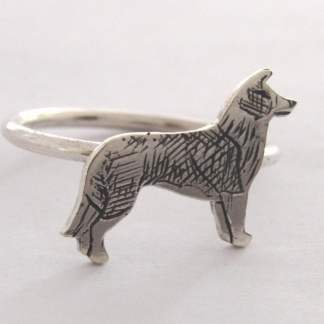 Sterling Silver Border Collie Stack Ring - Goldfish Jewellery Design Studio