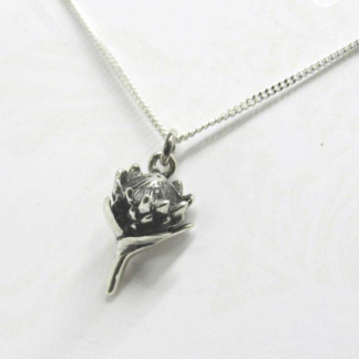 Sterling Silver Small Protea Charm on Chain - Goldfish Jewellery Design Studio