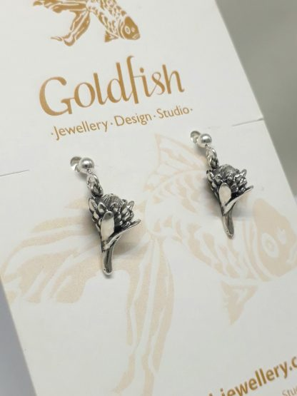 Sterling Silver Small Protea Earrings (balls and pins) - Goldfish Jewellery Design Studio