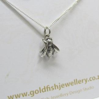 Sterling Silver Honey Bee Pendant - Goldfish Jewellery Design Studio