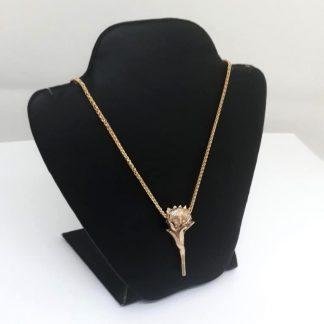 9ct Yellow Gold Protea Pendant (Large) - Goldfish Jewellery Design Studio