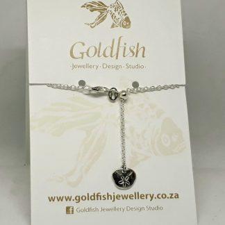 Sterling Silver Small Pansy Shell Charm on Slider Bracelet - Goldfish Jewellery Design Studio