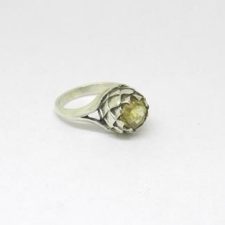 Sterling Silver Large Protea Citrine Ring - Goldfish Jewellery Design Studio