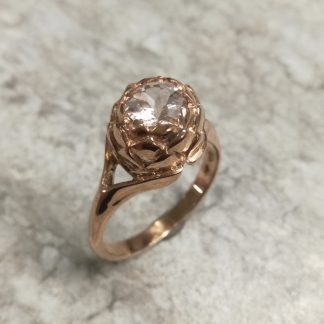 9ct Rose Gold Large Protea Morganite Ring - Goldfish Jewellery Design Studio