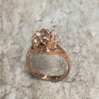 9ct Rose Gold Small Protea Morganite Ring - Goldfish Jewellery Design Studio