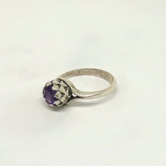Sterling Silver Small Protea Amethyst Ring - Goldfish Jewellery Design Studio