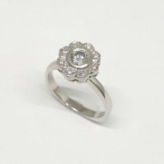 9ct White Gold Diamond Flower Ring - Goldfish Jewellery Design Studio