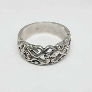 9ct White Gold Filigree Dome Ring - Goldfish Jewellery Design Studio