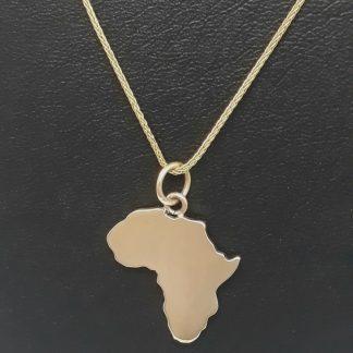9ct Yellow Gold Large Africa Pendant - Goldfish Jewellery Design Studio