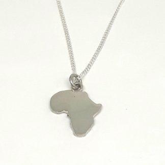 Sterling Silver Medium Africa Charm on Chain - Goldfish Jewellery Design Studio