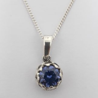Sterling Silver Protea with Tanzanite CZ Charm on Chain