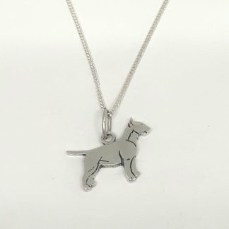 Sterling Silver Bull Terrier Charm on Chain - Goldfish Jewellery Design Studio