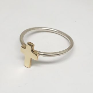 Sterling Silver with 9ct Gold Cross Stack Ring - Goldfish Jewellery Design Studio