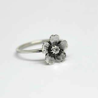 Small Almond Flower Stack Ring in Sterling Silver - Goldfish Jewellery Design Studio