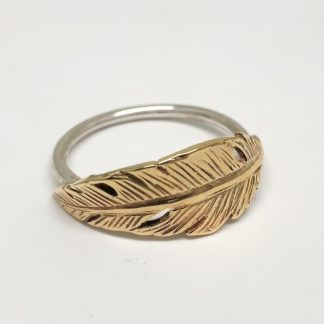 Sterling Silver with 9ct Gold Feather Stack Ring - Goldfish Jewellery Design Studio