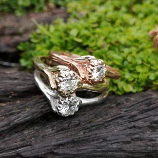 9ct Gold Protea Diamond Stack Ring - Goldfish Jewellery Design Studio