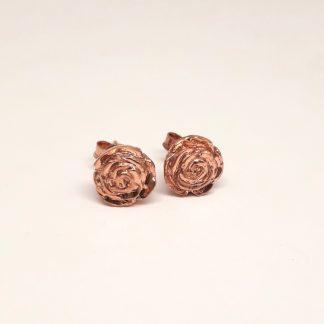 9ct Rose Gold 3D Rose Earrings - Goldfish Jewellery Design Studio