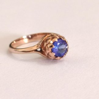 9ct Rose Gold Small Protea Tanzanite Ring by Goldfish Jewellery Design Studio
