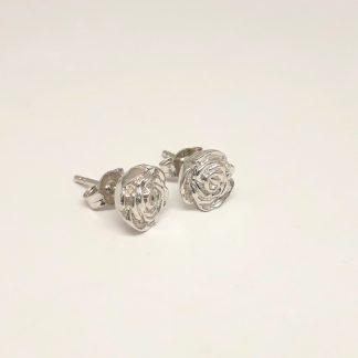 9ct White Gold 3D Rose Earrings - Goldfish Jewellery Design Studio