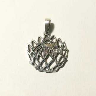 Sterling Silver Cut-Out Protea Pendant - Goldfish Jewellery Design Studio
