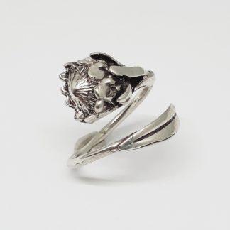 Sterling Silver Large Protea Wraparound Ring - Goldfish Jewellery Design Studio