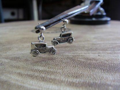 """Model """"A"""" Ford Car Earrings in Sterling Silver"""