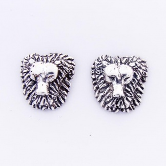 Sterling Silver Leo Lion Face Earrings