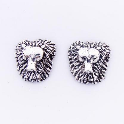 Sterling Silver Leo Lion Face Earrings