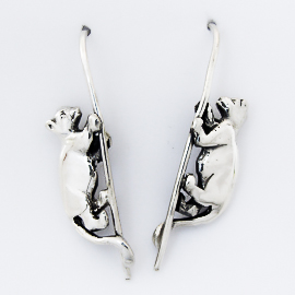 Sterling Silver Lion Cub Earrings