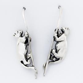 Sterling Silver Lion Cub Earrings