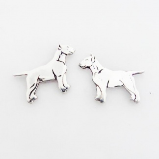 Sterling Silver Bull Terrier Earrings