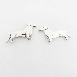 Sterling Silver Dachshund Earrings
