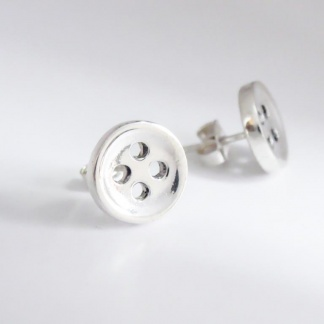Sterling Silver Small Button Earrings - Goldfish Jewellery Design Studio