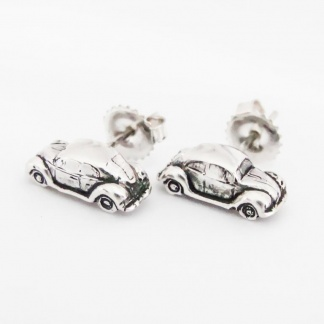 Sterling Silver VW Beetle Car Earrings - Goldfish Jewellery Design Studio