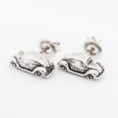 Sterling Silver VW Beetle Car Earrings - Goldfish Jewellery Design Studio