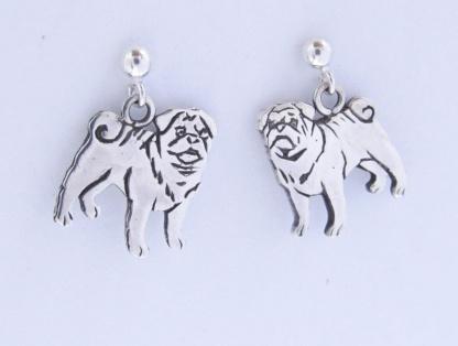 Goldfish Jewllery Design Studio - Sterling Silver Pug Earrings