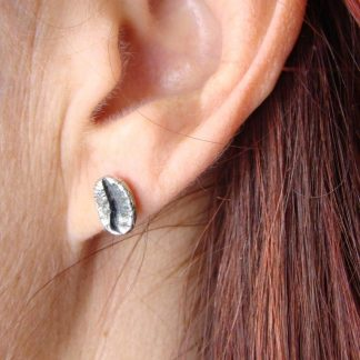 Sterling Silver Coffee Bean Earrings (balls and pins) - Goldfish Jewellery Design Studio