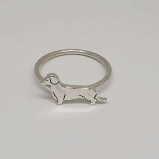 Sterling Silver Dachshund Stack Ring - Goldfish Jewellery Design Studio