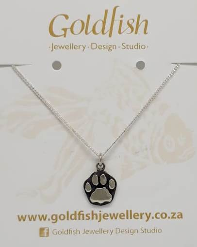 Sterling Silver Lion Paw Charm on Chain - Goldfish Jewellery Design Studio