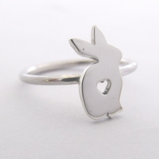 Sterling Silver Rabbit Stack Ring With Cut-Out Heart - Goldfish Jewellery Design Studio