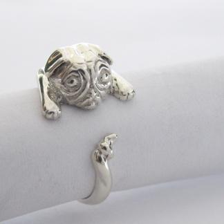 Sterling Silver Pug Wraparound Ring