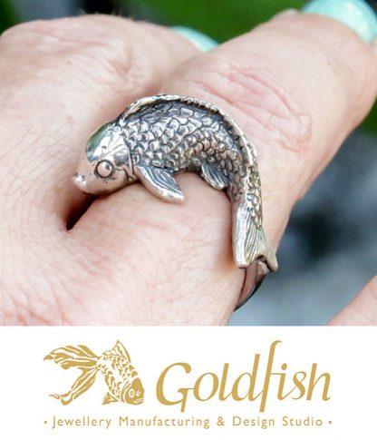 Sterling Silver Koi Fish Ring | Goldfish Jewellery Design Studio