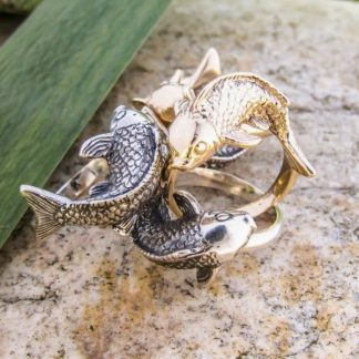 Sterling Silver Koi Fish Ring - Goldfish Jewellery Design Studio