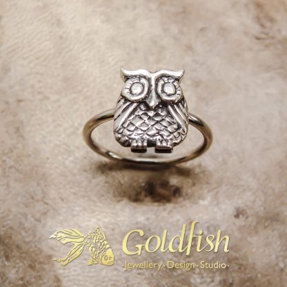 Sterling Silver Owl Stack Ring - Goldfish Jewellery Design Studio